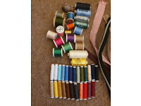 Craft and sewing materials/fabric/threads/zippers various colours and sizes