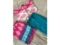 Asian clothing. Pink, blue and white shalwar suit. Unstitched.