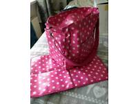 Pink oil cloth baby changing bag