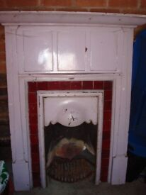 Unique Victorian Castiron Fire Surround with Red Tiles