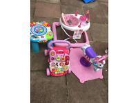 Baby girl toy bundle walker. Bounce on zebra
