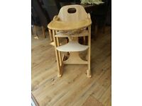 Wooden high chair with harness, very sturdy, good condition