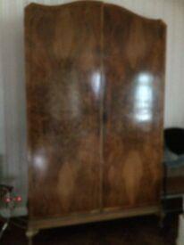 Walnut veneer vintage wardrobe with draws inside too.