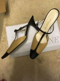 Ladies black and mustard coloured mule evening shoe