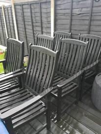 6 solid garden wooden chairs