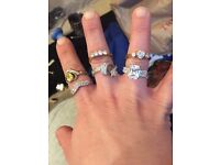 Lot of 6 sparkly cz/crystal rings
