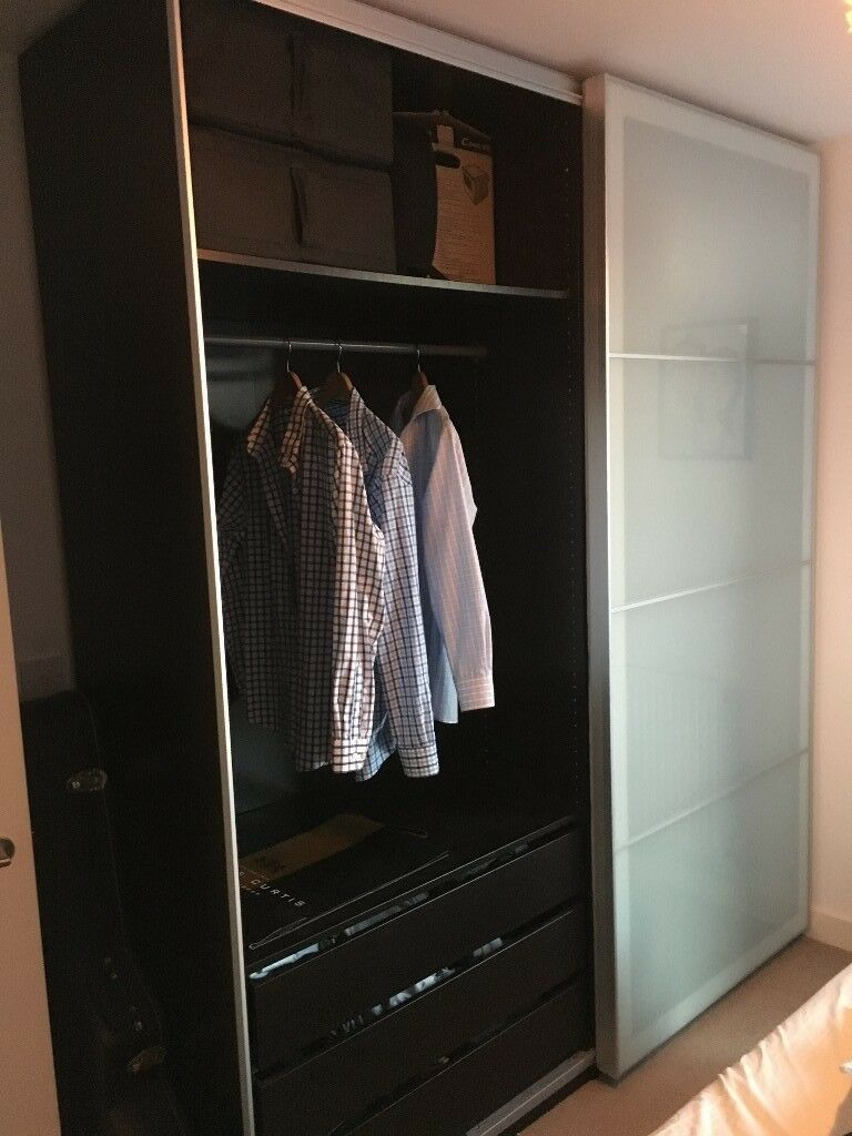 Dual Ikea Pax Floor To Ceiling Wardrobe