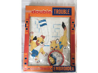Vintage 1950's/60's Peter Pan 'Double Trouble' (cat & dog) child's toy embroidery set, original pack