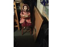 Antique China Doll in high chair
