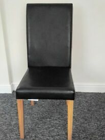 X4 black leather dinning chairs £10 each or £30 for all 4.