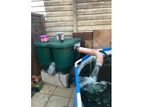 Koi pond Koi air pump and filter box