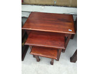 Nest of 3 tables, chunky wood style . £40 Good solid tables , good quality . Free local delivery.