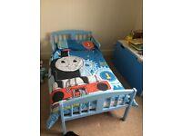 Wooden blue toddler bed