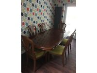 Extendable dining table and six chairs Laura Ashley fabric