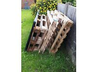 Assortment of 5 wooden pallets euros and over sized