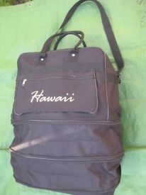 Expandable Black Fabric Hawaii Travel Bag
