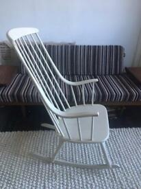 Mid Century Vintage Original Lena Larsson Rocking Chair Made By Nesto Sweden