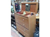 1950's Tallboy drawer unit with lift up vanity unit and mirror