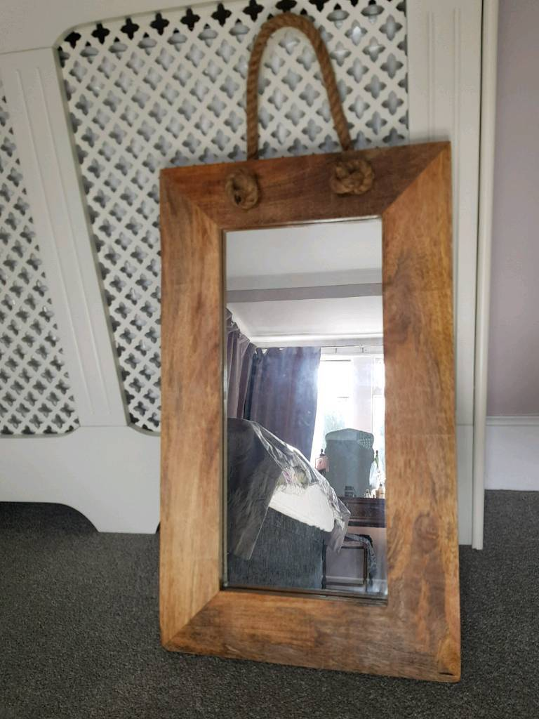 Beautiful Rustic Large Wooden Mirror With Rope Handle