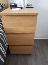 Ikea Oak Malm Bedroom Furniture