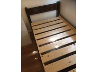 Warren Evans single bed frame from solid wood in black satin