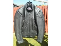 GENUINE LEATHER MOTORCYCLE JACKET BY SCOT SIZE MEDIUM