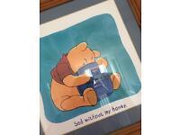 Disney Winnie the Pooh large pine framed picture - baby nursery, children's bedroom