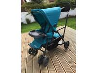 Dual pushchair-Joovy Caboose Ultralight Graphite Stand-On Tandem Pushchair Turquoise