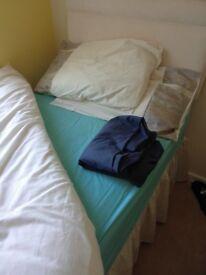3' single bed with mattress, headboard, duvet, duvet set, pillows and sheets