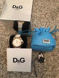 Women's D&G 'DOLCE & GABBANA' Gold/White Face Watch