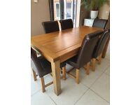 Oak Dining Table with 6 x Brown Leather Chairs