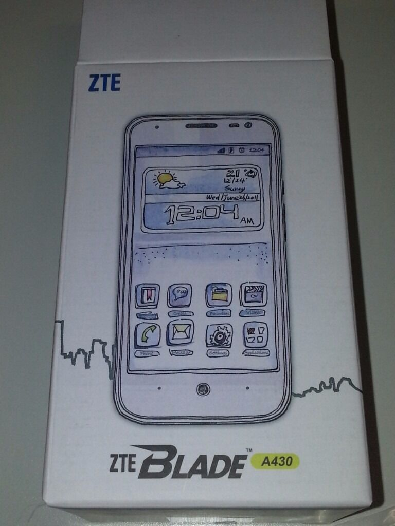 NEW IN BOX ( unlocked )- ZTE blade A430 adroid smart phone quad core, 4G, 8gb , 1gb ram