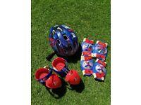 Spiderman roller skates, helmet, knee & elbow pads