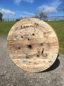 Sanded Large Wooden Cable Reel / Drum / Spool Upcycled Industrial Garden Table