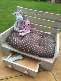 Personalise and custom built dog beds, made to order! Choose the colour and text of your choice!