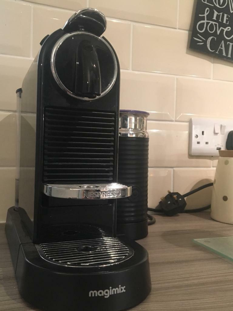Nespresso magimix coffee machine with milk frother.
