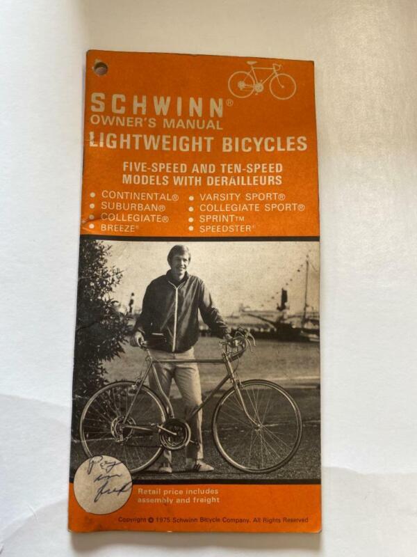 1975 Schwinn LIGHTWEIGHT Bicycle OWNERS MANUAL