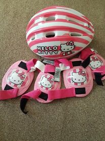Saftey helmet and pads hello kitty