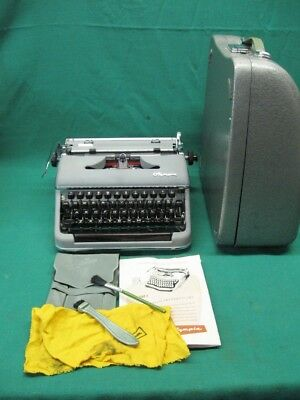Mint 1958 Olympia Deluxe Sm-3 Sm-4 Typewriter Sn 1161583 Serviced Metal Case