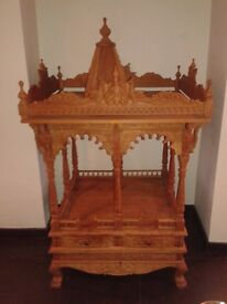 Beautiful & unique Indian Hindu Traditional Teak Wood Mandir Temple with a detachable dome .