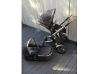 Joolz Day Pram with Carrycot, Rain Cover Travel Bag and Two Leather Handlebars