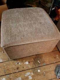 Large storage footstool beige