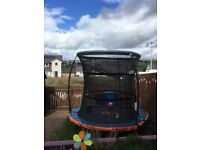 8 foot trampoline with safety net and ladder steps