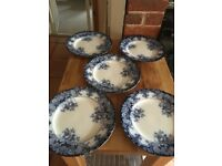 Victorian Blue and White Hanley Belmont plates