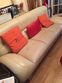 Cream luxury leather sofas bargain