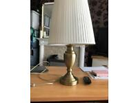 Brass table lamp and shade