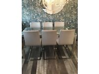John Lewis glass dining table and six chairs