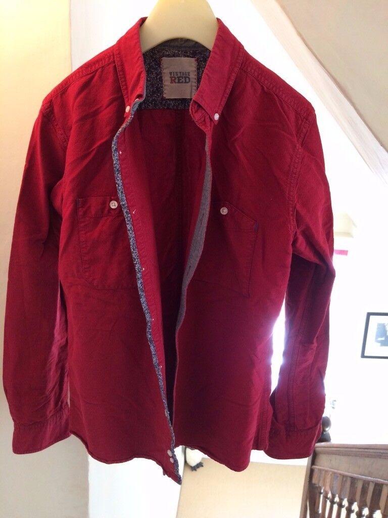 Mens Shirt Red Medium 'Vintage Red'
