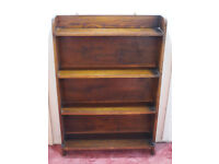 Small Oak Antique Vintage Bookcase and Mirror