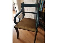 Handpainted Regency style chair in Annie Sloan Aubusson Blue chalk paint shabby chic vintage